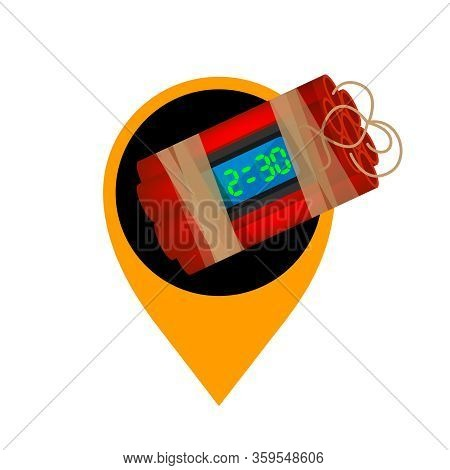 Blast Bomb Of Terrorist In The Orange Pin Icon For Location Pointer, Explode A Bomb Dynamite With Po