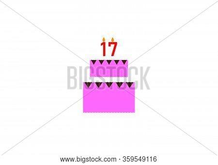 Sweet Seventeen Birthday Cake Falt Designstyle Vector Illustration