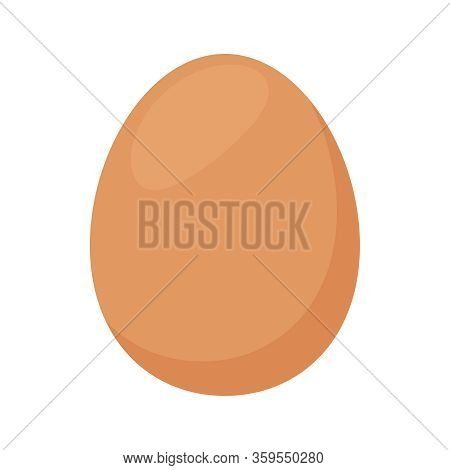 Fresh Egg Of Hen, Chicken Eggs Isolated On White Background, Clip Art Chicken Eggs Brown Color, Illu