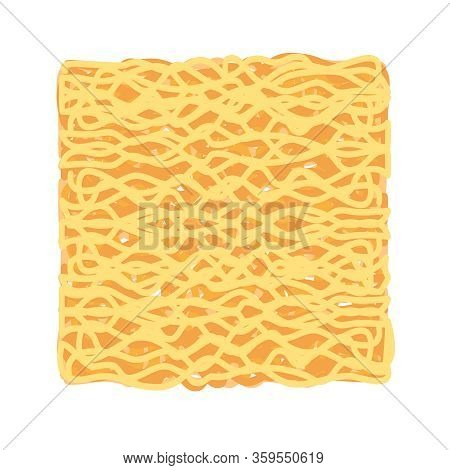Instant Noodles Cube Isolated On White Background, Illustration Ramen Cubes Or Noodle For Clip Art,