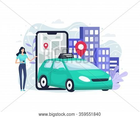 Online Ordering Taxi Car. Mobile Taxi Service App, Taxi In Mobile And Navigation Or Location City Ma