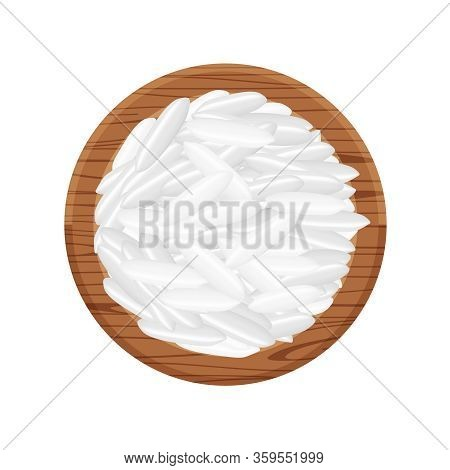 Rice Seed Raw On Circle Wood Plate, Isolated On White, Grains Rice And Paddy Seed On Wooden Tray, Pi