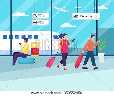 People Sitting And Walking In Airport. Business Travel, People Travelling, Passenger In Airport Term