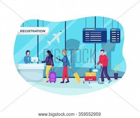 Travelers In Airport Waiting In Queue For Check. Business Travel Concept. Airport Check In Registrat