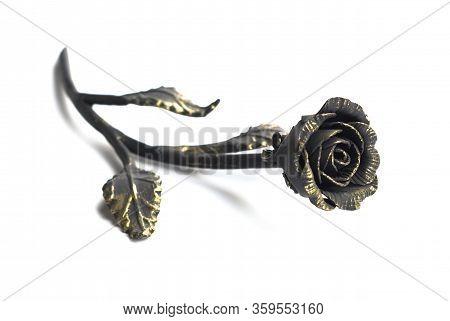 Beautiful Metallic Rose Isolated On White Background.