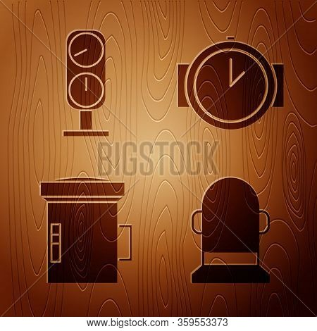 Set Buoy, Gauge Scale, Big Flashlight For Diver And Diving Watch On Wooden Background. Vector