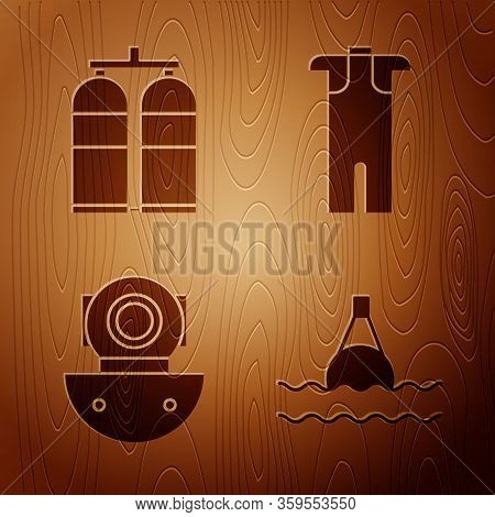 Set Floating Buoy On The Sea, Aqualung, Aqualung And Wetsuit For Scuba Diving On Wooden Background.