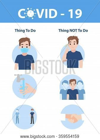 Info Graphic Elements The Signs And Corona Virus, Thing To Do And Thing Not To Do Of Covid - 19, Hea