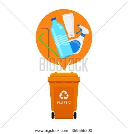 Plastic Waste And Orange Recycling Plastic Bin Isolated On White Background, Bin And Plastic Collect