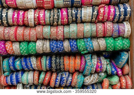 Multi Colored Bangles In The Chandni Chowk Wedding Market District Of Old Delhi