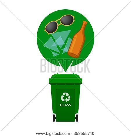 Glass Waste And Green Recycling Plastic Bin Isolated On White Background, Plastic Bin And Glass Bott