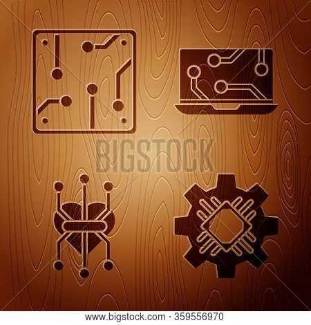 Set Processor, Processor, Processor And Laptop On Wooden Background. Vector