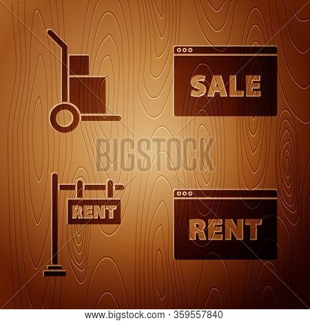 Set Hanging Sign With Text Online Rent, Hand Truck And Boxes, Hanging Sign With Text Rent And Hangin
