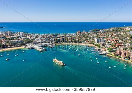 Aerial View On Famous Manly Wharf And Manly, Sydney, Australia.