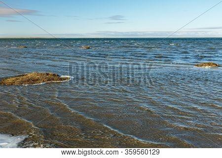 Lake Kamyslybas, Large Saltwater Lake In The Kyzylorda Region Of Kazakhstan. Waves On The Surface Of