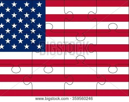 Vector Colorful Puzzle With Usa Flag - Made From Puzzle Pieces. Many-colored Puzzle Pattern (removab