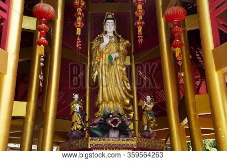 Building And Guanyin Statue For Thai People And Foreign Travelers Travel Visit And Respect Pray At W