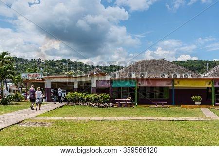 Ocho Rios, Jamaica - April 22, 2019: People At The Island Village Shopping Cente In Ocho Rios, Jamai