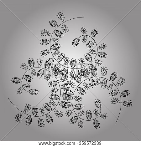 Nice Pattern For Wrapping Paper Vector. Doodles Gray, White And Black On Colors. Seamless Pattern Sk