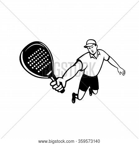 Mascot Icon Illustration Of A Padel Player, A Racquet Sport With Stringless Racket Jumping Viewed Fr