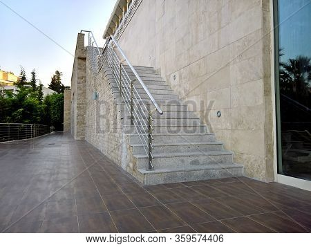 Big Stone Hotel Stairs To The Terrace With A Ceramic Floor