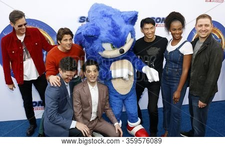 Haruki Satomi, James Marsden, Ben Schwartz, Jim Carrey, Tika Sumpter, Jeff Fowler and Toby Ascher at the Los Angeles premiere of 'Sonic the Hedgehog' held at Paramount Theatre in Los Angeles, USA.
