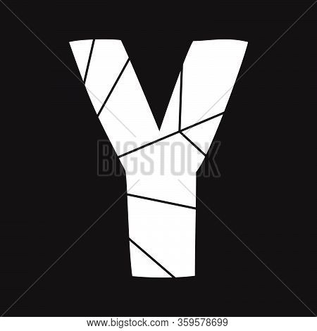 Y White Vector Alphabet Letter Isolated On Black Background