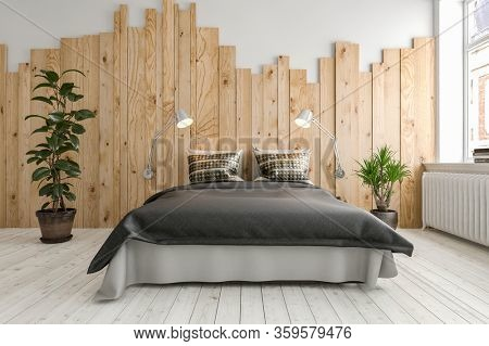 Modern neat minimalist bedroom interior with double divan style bed over a painted white wood floor flanked by potted plants against a wall with feature wooden plank pattern. 3d render