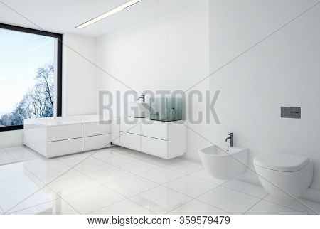 Monochromatic white spacious modern bathroom interior with wall mounted bidet, toilet, vanity and bathtub under a bright view window overlooking winter trees. 3d render