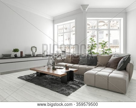Bright white modern urban apartment living room interior with modular lounge suite, potted plants and personal ornaments lit by two large windows in a monochromatic design, 3d render