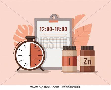 Iodine, Zinc And Alarm Clock. Time Of Pill. Health Care, Pharmacy, Medicine Concept . Vector