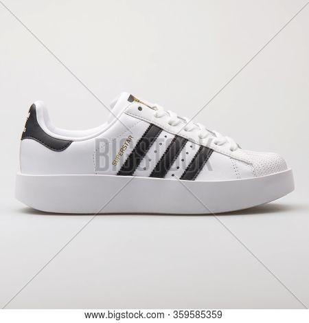 Vienna, Austria - August 6, 2017: Adidas Superstar Bold White And Black Sneaker On White Background.
