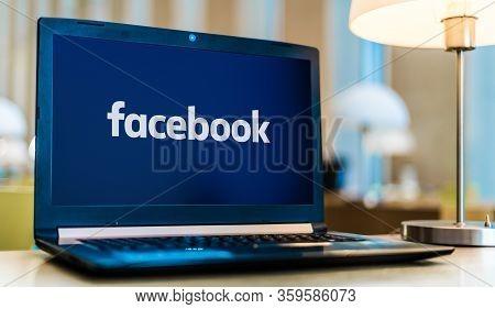 Poznan, Pol - Jan 30, 2020: Laptop Computer Displaying Logo Of Facebook, An American Online Social M