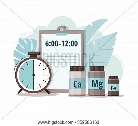 Calcium, Magnesium, Iron And Alarm Clock. Time Of Pill. Health Care, Pharmacy, Medicine Concept.  Ve