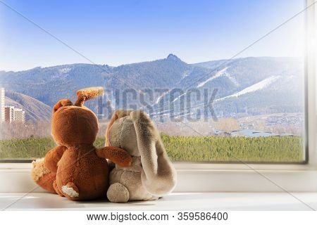 Quarantine. Toys Rabbits Look Out Of The Window At A Beautiful View Of The Mountains And Sky. Friend
