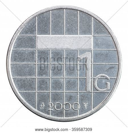 Netherlands 1 Guilder Isolated On White Background Close-up