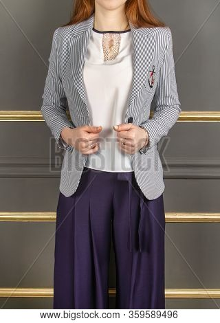 Marine Paraphernalia, Anchor, Life Buoy. Spring Clothes For The Girl. Elegant Suit