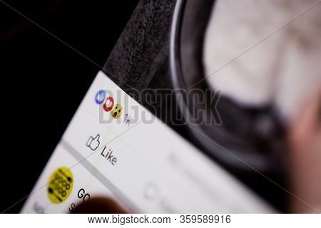 Bucharest, Romania - April 5, 2020: Macro Image With Details From The Facebook Mobile App: Emoticons