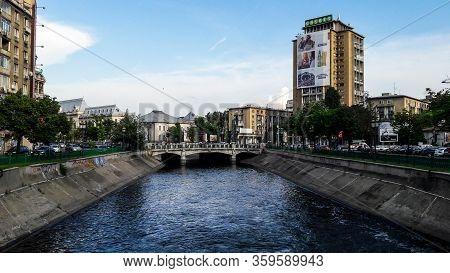 Bucharest, Romania - June 16, 2019: Dambovita River, United Nations (natiunile Unite) Area.