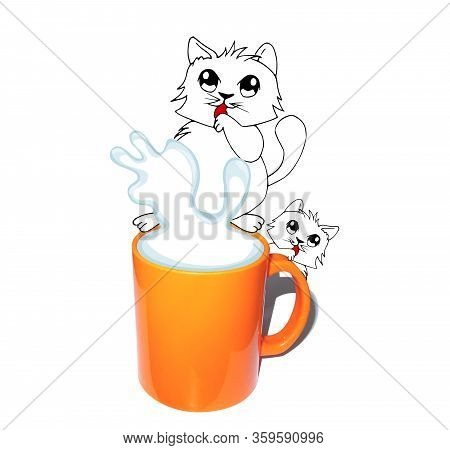 Funny White Cat With A Big Mug Of Milk And Small Kitty. Drawing Merged With Photo. Cute Animal Chara
