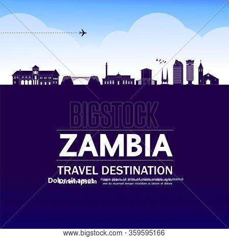 Egypt Blue Travel Destination Vector Illustration.
