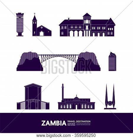 Zambia Deep Blue Travel Destination Vector Illustration.