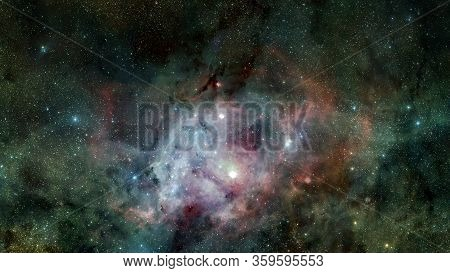 Deep Space Art. Nebulas, Galaxies And Stars In Beautiful Composition. Awesome For Wallpaper And Prin