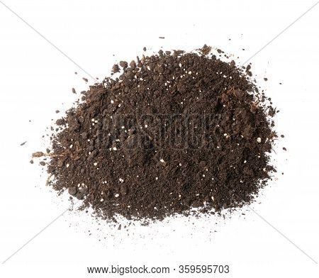 Pile Of Soil With Mineral Fertilizers Isolated On White Background