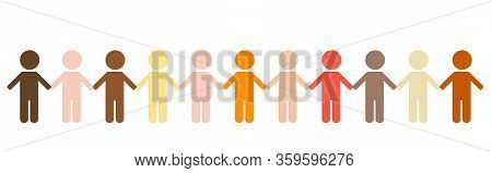 Group Of Colorful People Different Skin Color Tone Of Many People Holding Hand Together. Teamwork, U
