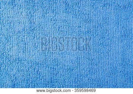 Blue Microfiber Cleaning Cloth Texture Background Top View