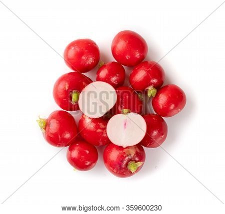 Radis Roots, Fresh Radish Root Bundle, Pile Of Red Radishes