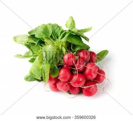 Radis Bunch, Fresh Radish Root Bundle, Pile Of Red Radishes
