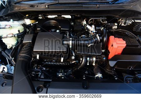 New Car Engine Detail / Close Up Of Machine Eco Car Engine Motor Checking And Cleaning For Deliver C