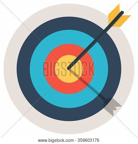 Target With An Arrow Flat Icon Concept Market Goal. Concept Target Market, Audience, Group, Consumer